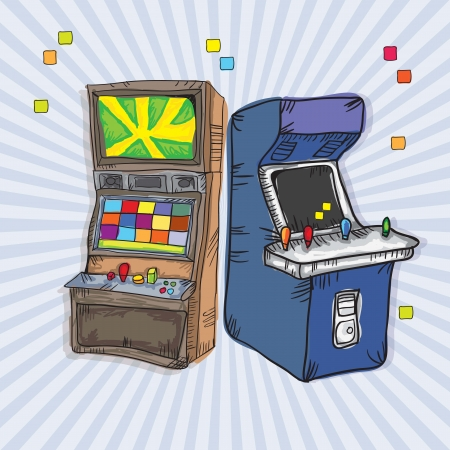 Illustrated  Arcade Game Machines (set for two). On vintage background Vector