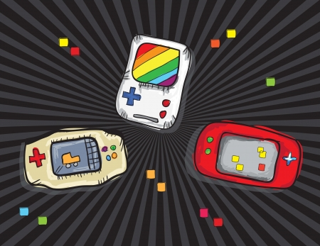 Video Games Icons ( Retro Consoles), on black background. Vector Stock Vector - 18210962