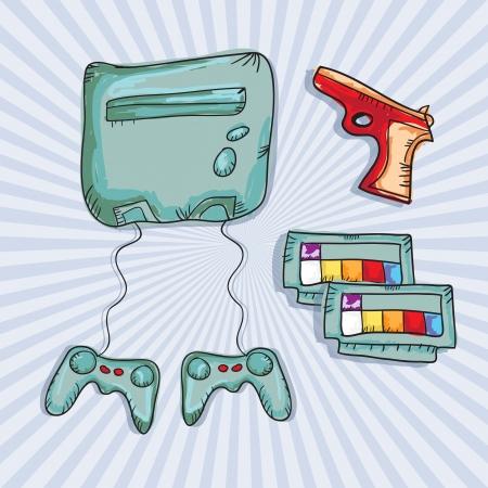 player controls: Juegos de Video (Iconos Consolas Retro y controles), sobre fondo azul. Vector