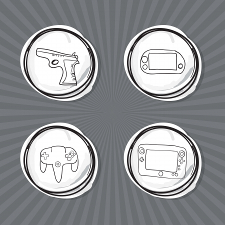 Hand Draw Video Games Icons set. Vector Illustration Vector