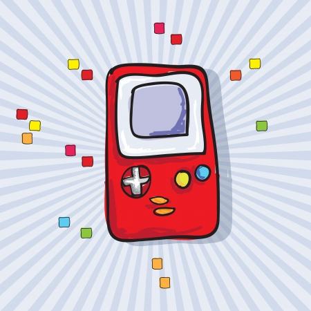 player controls: Videojuegos Icon (Retro Console), sobre fondo azul. Vector