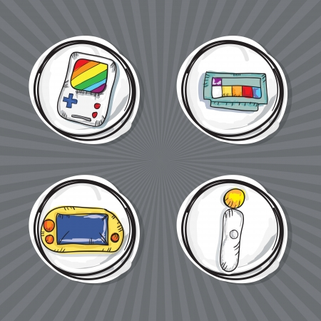 Hand Draw Video Games Icons set. Vector Illustration Stock Vector - 18211025