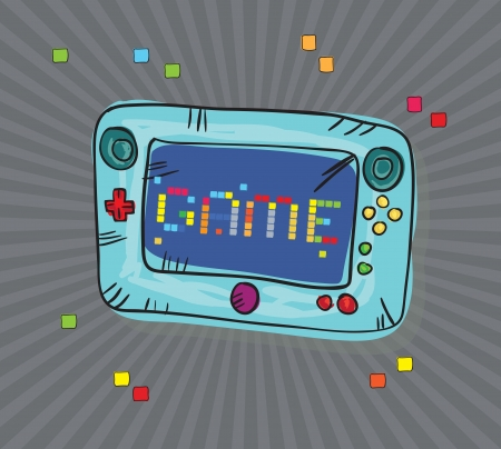 player controls: Video Games Icons ( Retro Console), on Grey background. Vector