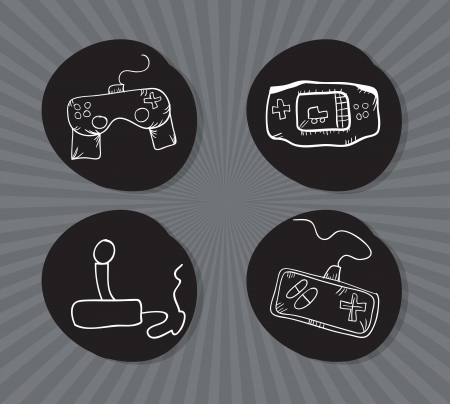 Hand Draw Video Games Icons set. Vector Illustration Stock Vector - 18210926