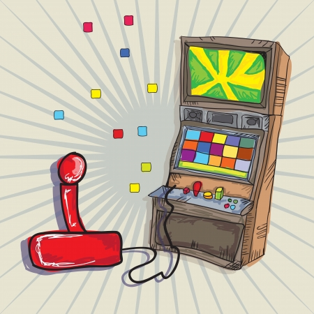 Video Games Icons Arcade Machine and joystick. on vintage background Vector