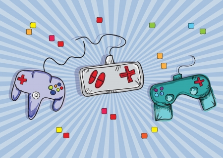 controls: Video Games Icon ( Retro Controls), on blue background. Vector