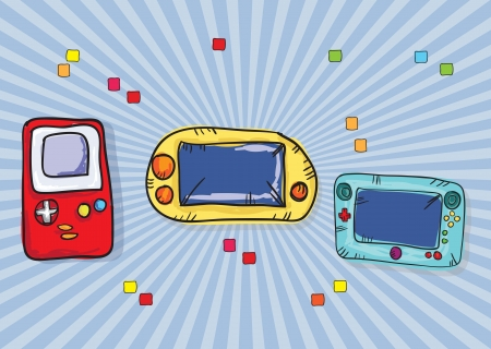 Video Games Icon ( Retro Consoles), on blue background. Vector Stock Vector - 18210968