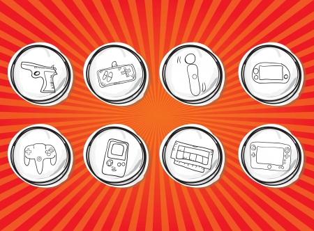 player controls: Hand Draw Videojuegos Icons set. Vector Illustration