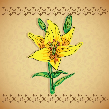 naturism: Beautiful  Yellow Flower, On vintage Background. Vector