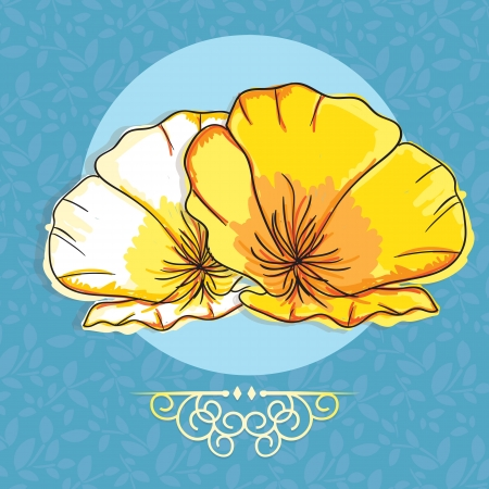 Beautiful  Yellow and white Flower, On blue Background. Vector  Vector