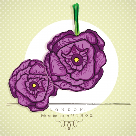 naturism: Purple flowers set, on vintage background. Vector illustration Illustration