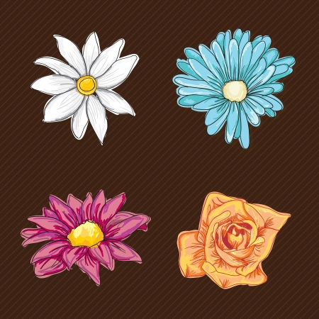 naturism: Colorful Flowers Icons Set on vintage background. Vector Illustrtion