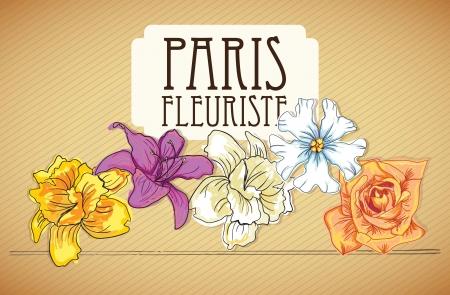 naturism: Paris Fleuriste (Flowers Icons) On vintage bckground. Vector