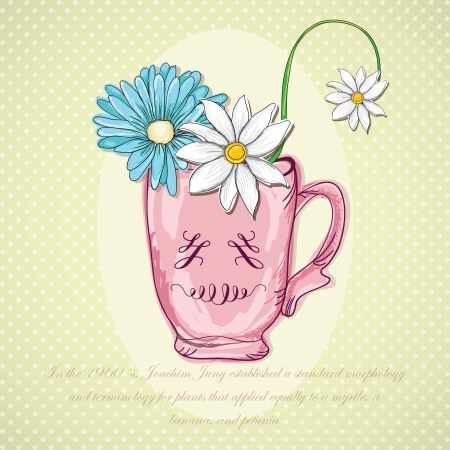 naturism: Flowers and Teacup, on vintage background. Vector Illustration Illustration