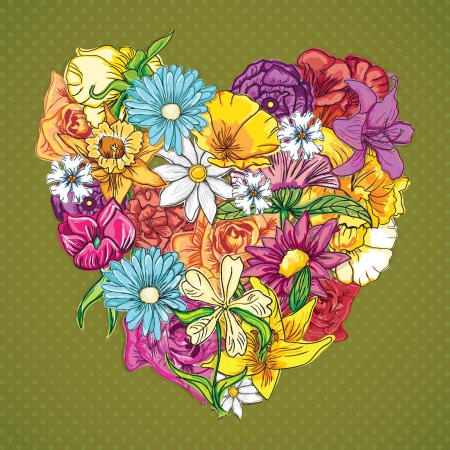 Flowers Icons (My heart has bloomed) . On vintage background. Vector Illustration