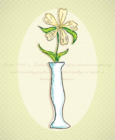 Decorative Vase, (White Flower) on vintage background. Vector Illustration  Vector