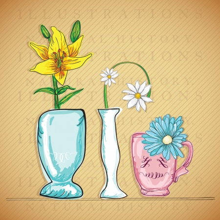 naturism: Decorative Vase, (Colorful Flowers) on vintage background. Vector Illustration  Illustration