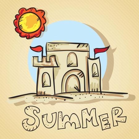 castle sand: Escena de verano, castillo de arena con el sol. Vector Illustration Vectores
