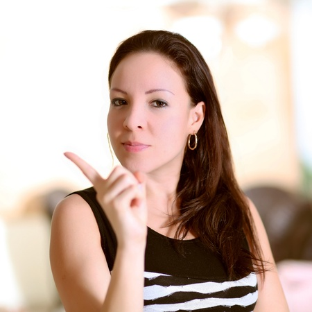 business woman reject with your finger and confident expression photo