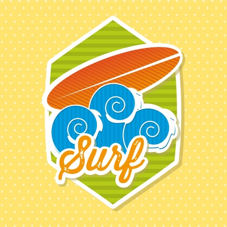 surfboard icon over yellow background. vector illustration