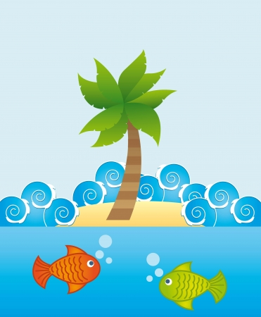 marine life with  fishes over blue background. vector illustration Stock Vector - 18211805