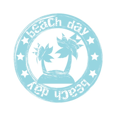 beach day seal over white background. vector illustration Vector