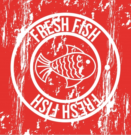fresh fish seal over red background. vector illustration Stock Vector - 18211678