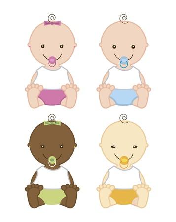 newborn baby girl: baby isolated over white background. vector illustration