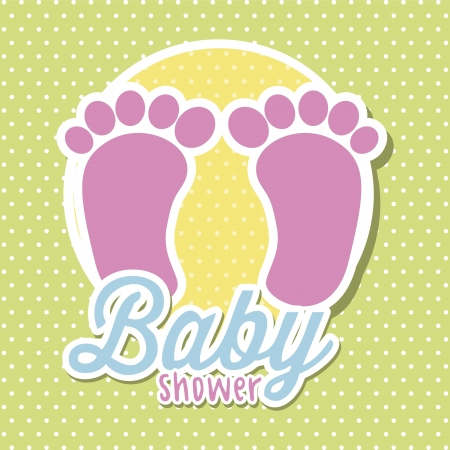 baby shower with foots over green background. vector Stock Vector - 18211797