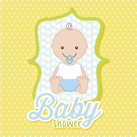 baby boy over yellow background. vector illustration  Vector