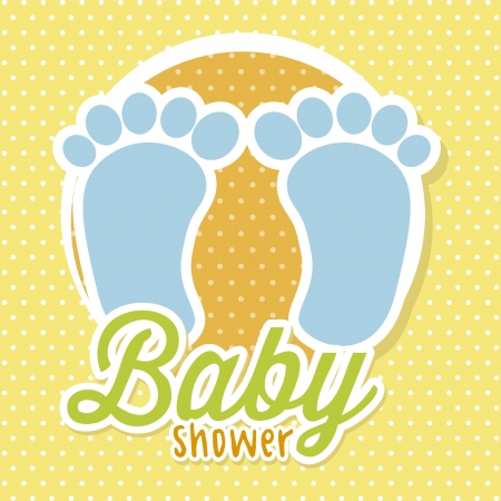 foots: baby shower with foots over yellow background. vector Illustration