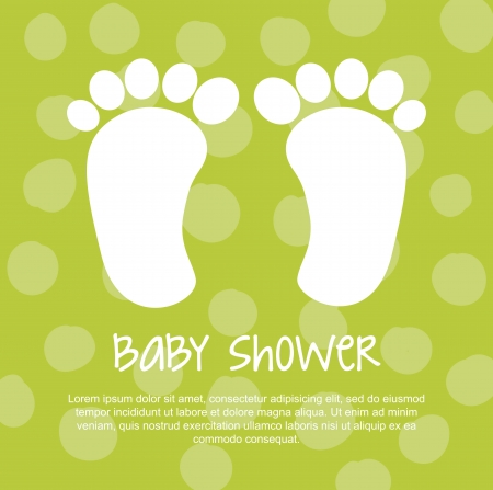 baby shower with foots over green background. vector Stock Vector - 18211780