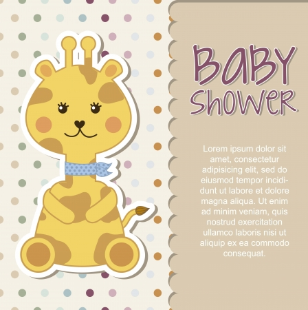 cuddly baby: baby shower card with giraffe. vector illustration Illustration