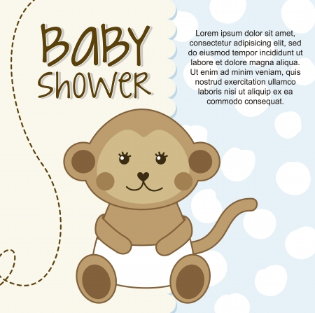 cuddly baby: baby shower card with monkey. vector illustration Illustration