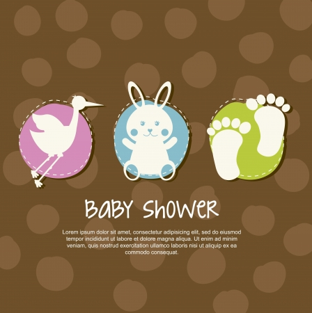 baby blue: baby card over brown background. vector illustration
