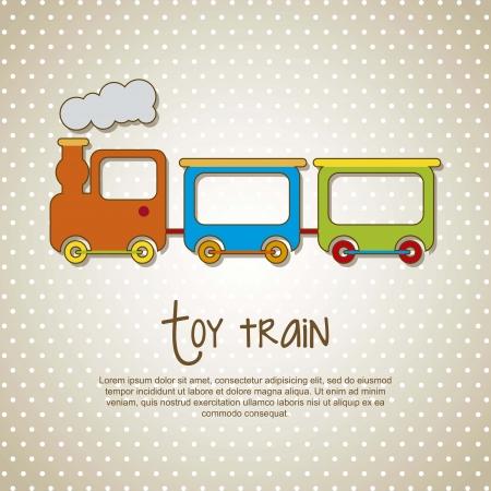 cartoon train: toy train over beige background. vector illustrion