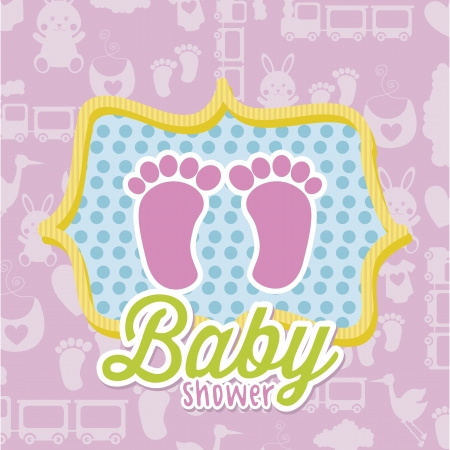 baby shower card over pink background. vector illustration Stock Vector - 18211759