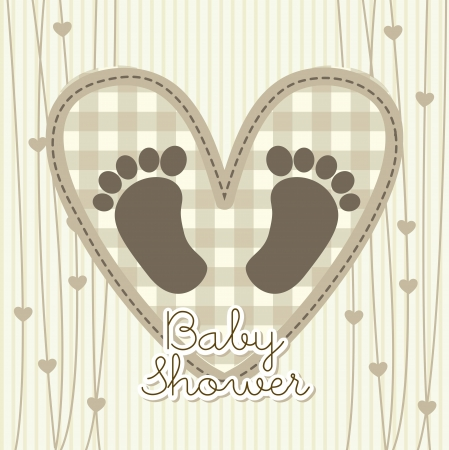 baby shower card over beige background. vector illustration Vector