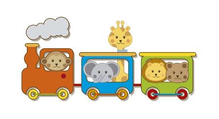 petit train: b�b�s animaux avec le train sur blanc backgroun. illustration vectorielle