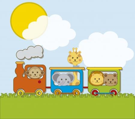 tren caricatura: animales bebé con tren sobre backgroun paisaje. vector Vectores
