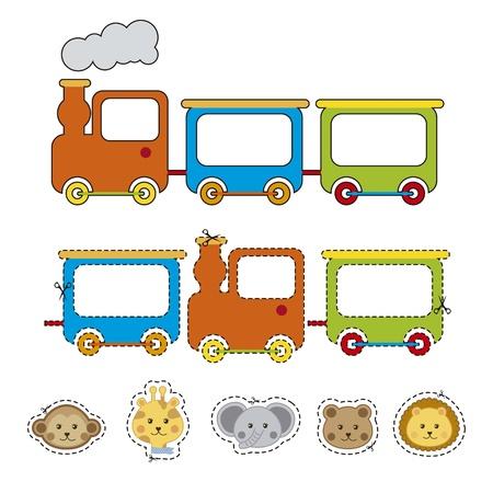 cartoon train: face animals with train over white backgroun . vector illustration