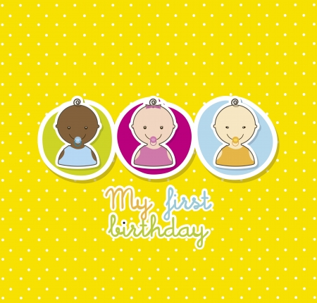baby cardover yellow background. vector illustration  Vector