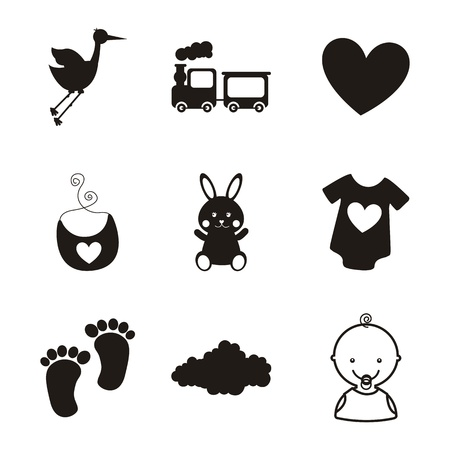 black stork: baby icons over white background. vector illustration