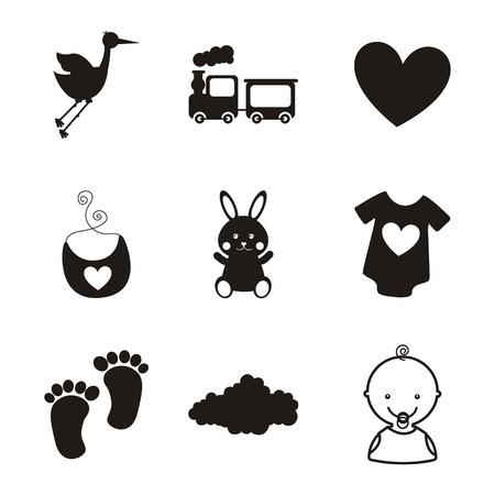 cigue�a: iconos del beb� sobre fondo blanco. ilustraci�n vectorial