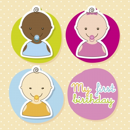 baby card over beige background. vector illustration  Vector