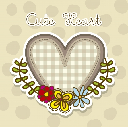 cute heart with flowers over beige background. vector Vector