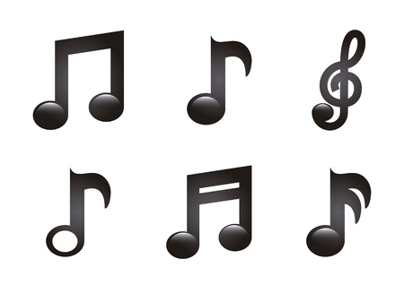 treble clef: music icons over white background. vector illustration