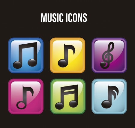 music icons over black background. vector illustration Stock Vector - 18211784
