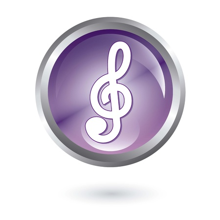 crotchets: music button over white background. vector illustration