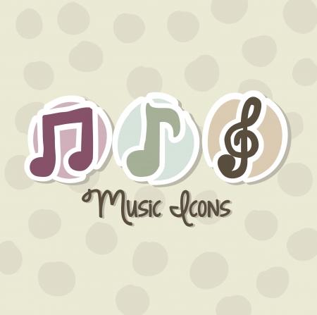 clave de sol: iconos de la música sobre fondo beige. ilustración vectorial